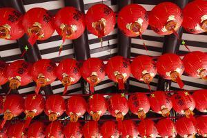 Singapore, Chinatown, Thian Hock Keng Temple, Chinese Red Lanterns by Walter Bibikow
