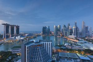 Singapore, City Skyline Elevated View Above the Marina Reservoir, Dawn by Walter Bibikow