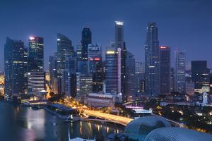 Singapore, City Skyline Elevated View Above the Marina Reservoir, Dusk by Walter Bibikow