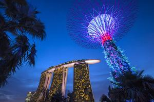 Singapore, Gardens by the Bay, Super Tree Grove and Marina Bay Sands Hotel, Dusk by Walter Bibikow
