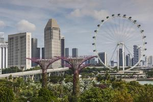 Singapore, Gardens by the Bay, Super Tree Grove, Elevated Walkway View with Singapore Skyline by Walter Bibikow