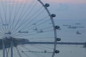 Singapore, Singapore Flyer, Giant Ferris Wheel, Elevated View, Dawn by Walter Bibikow