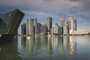 Singapore, Skyline with the Louis Vuitton Floating Shop by Walter Bibikow