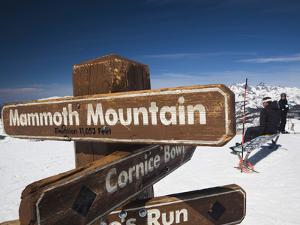 Skiers at Top of the Sierra, Mammoth Mountain Ski Area, Eastern Sierra Nevada Area, California, Usa by Walter Bibikow