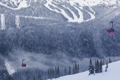 Skiing Gondola, Whistler to Blackcomb, British Columbia, Canada by Walter Bibikow
