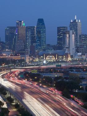 Skyline and Stemmons Freeway, Dallas, Texas, USA by Walter Bibikow