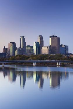 Skyline from the Mississippi River, Minneapolis, Minnesota, USA by Walter Bibikow