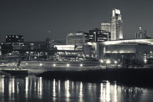 Skyline from the Missouri River at Dusk, Omaha, Nebraska, USA by Walter Bibikow