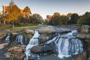 South Carolina, Greenville, Falls Park on the Reedy River, Dawn by Walter Bibikow
