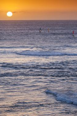 Southwest Australia, Prevelly, Surfers Point, Windsurfers, Dusk by Walter Bibikow