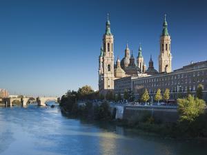 Spain, Aragon Region, Zaragoza Province, Zaragoza, Basilica De Nuestra Senora De Pilar on the Ebro by Walter Bibikow