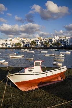 Spain, Canary Islands, Lanzarote, Arecife, Charco De San Gines, Fishing Boats, Dawn by Walter Bibikow