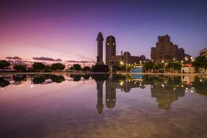 Spain, Canary Islands, Tenerife, Santa Cruz De Tenerife, Plaza De Espana, City Reflection, Dawn by Walter Bibikow