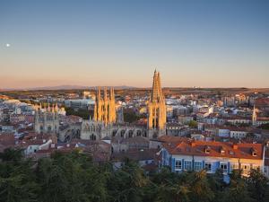 Spain, Castilla Y Leon Region, Burgos Province, Burgos, Burgos Cathedral, Elevated View by Walter Bibikow