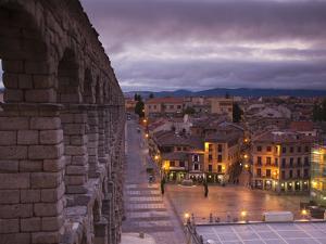 Spain, Castilla Y Leon Region, Segovia Province, Segovia, Town View over Plaza Azoguejo with El Acu by Walter Bibikow