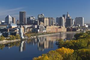 St Paul, Skyline from Mississippi River, Minneapolis, Minnesota, USA by Walter Bibikow