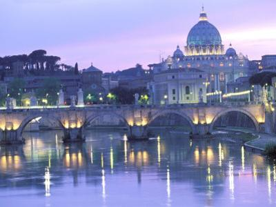 St. Peter's and Ponte Sant Angelo, The Vatican, Rome, Italy by Walter Bibikow