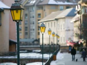 Street Lamps in Old Town, Annecy, French Alps, Savoie, Chambery, France by Walter Bibikow