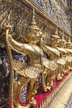 Thailand, Bangkok. Ko Ratanakosin, Wat Phra Kaew, Temple of the Golden Buddha detail. by Walter Bibikow