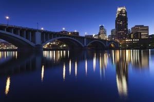 Third Avenue Bridge, Mississippi River, Minneapolis, Minnesota, USA by Walter Bibikow