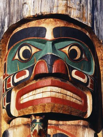 Totem Pole Detail, Duncan, Vancouver Island, BC, Canada by Walter Bibikow