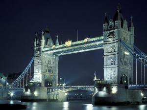 Tower Bridge at Night, London, England by Walter Bibikow