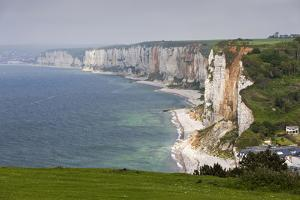 Town and Cliffs, Elevated View, Yport, Normandy, France by Walter Bibikow