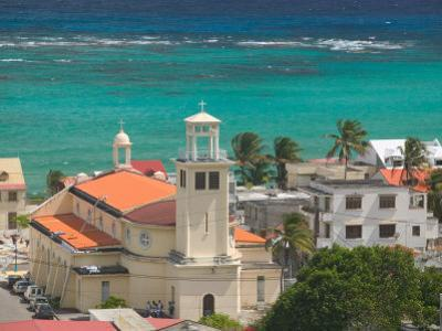Town View and Church on Marie-Galante Island, Guadaloupe, Caribbean by Walter Bibikow