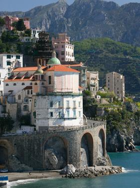 Town View from Coast Road, Amalfi, Campania, Italy by Walter Bibikow