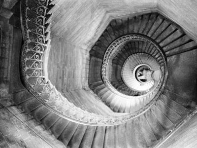 Traboule Staircase, Lyon, France by Walter Bibikow
