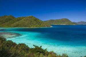 U.S. Virgin Islands, St. John. Leinster Bay, elevated bay view by Walter Bibikow