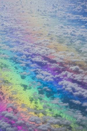 U.S. Virgin Islands, St. Thomas. Aerial view of clouds and rainbow over the Caribbean Sea by Walter Bibikow