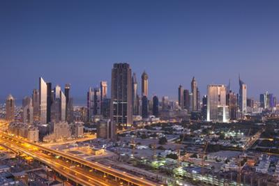 UAE, Downtown Dubai. Skyscrapers on Sheikh Zayed Road from downtown by Walter Bibikow