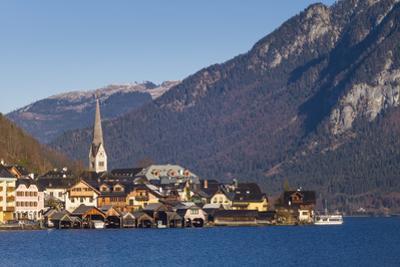 Upper Austria, Salzkamergut, Hallstatt, town view, dawn by Walter Bibikow