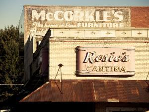 USA, Alabama, Muscle Shoals Area, Florence, Vintage Sign for Rosie's Cantina Restaurant by Walter Bibikow
