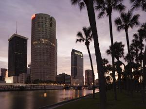 USA, Florida, Tampa, Skyline from Hillsborough River by Walter Bibikow