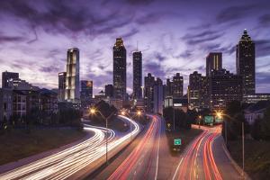 USA, Georgia, Atlanta, City Skyline from Interstate 20 by Walter Bibikow