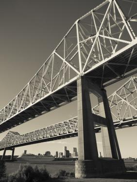 USA, Louisiana, New Orleans, the Greater New Orleans Bridge and Mississippi River by Walter Bibikow