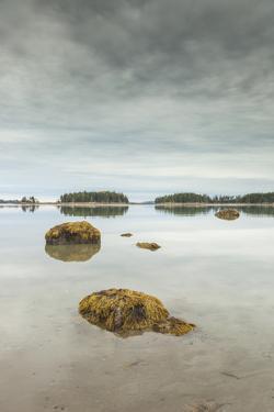 USA, Maine Mountainville. Autumn on Penobscot Bay. by Walter Bibikow