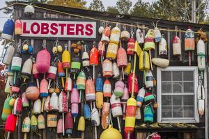 USA, Maine, Mt. Desert Island. Eden, traditional lobster shack seafood restaurant during autumn. by Walter Bibikow