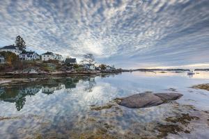 USA, Maine, Stonington. Stonington Harbor at dawn. by Walter Bibikow