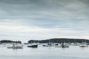 USA, Maine, Stonington. Stonington Harbor during autumn. by Walter Bibikow