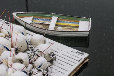 USA, Massachusetts, Cape Ann, Gloucester, Annisquam, fishing net floats, winter by Walter Bibikow