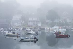 USA, Massachusetts, Cape Ann, Gloucester. Annisquam Harbor, boats in fog by Walter Bibikow
