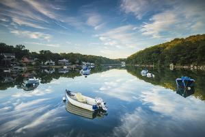 USA, Massachusetts, Cape Ann, Gloucester. Annisquam, Lobster Cove, reflections by Walter Bibikow