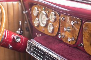 USA, Massachusetts, Cape Ann, Gloucester. Antique car, 1940's-era antique car interior by Walter Bibikow