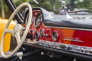 USA, Massachusetts, Essex. Antique cars, detail of 1950's-era Mercedes Gullwing by Walter Bibikow
