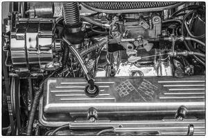 USA, Massachusetts, Essex. Detail of antique cars, hot rod engine. by Walter Bibikow