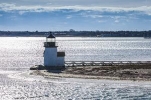 USA, Massachusetts, Nantucket Island. Nantucket Town, Brant Point Lighthouse from Nantucket Ferry. by Walter Bibikow