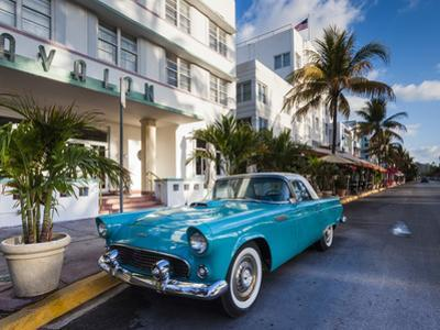 USA, Miami Beach, South Beach, Ocean Drive, Avalon Hotel and 1957 Thunderbird Car by Walter Bibikow